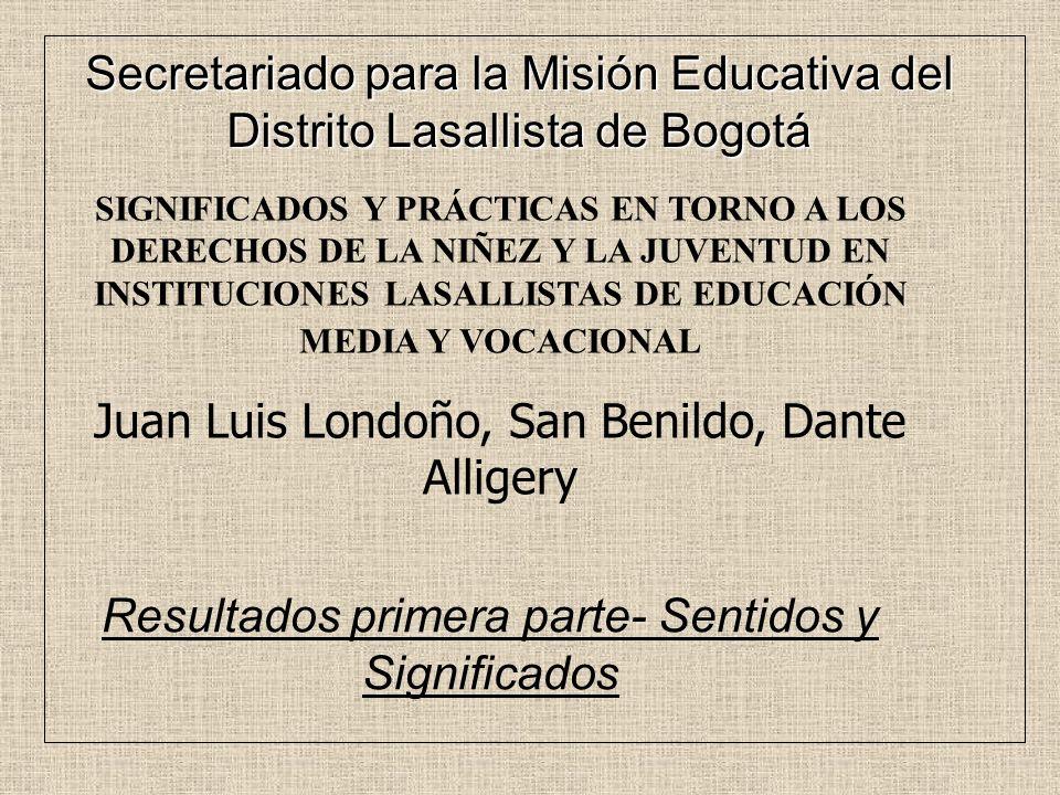 SIGNIFICADOS Y PRÁCTICAS EN TORNO A LOS DERECHOS DE LA NIÑEZ Y LA JUVENTUD EN INSTITUCIONES LASALLISTAS DE EDUCACIÓN MEDIA Y VOCACIONAL Juan Luis Lond
