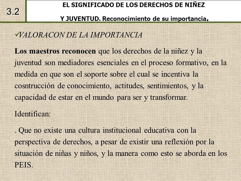 EL SIGNIFICADO DE LOS DERECHOS DE NIÑEZ Y JUVENTUD. Reconocimiento de su importancia. 3.2 VALORACON DE LA IMPORTANCIA Los maestros reconocen que los d