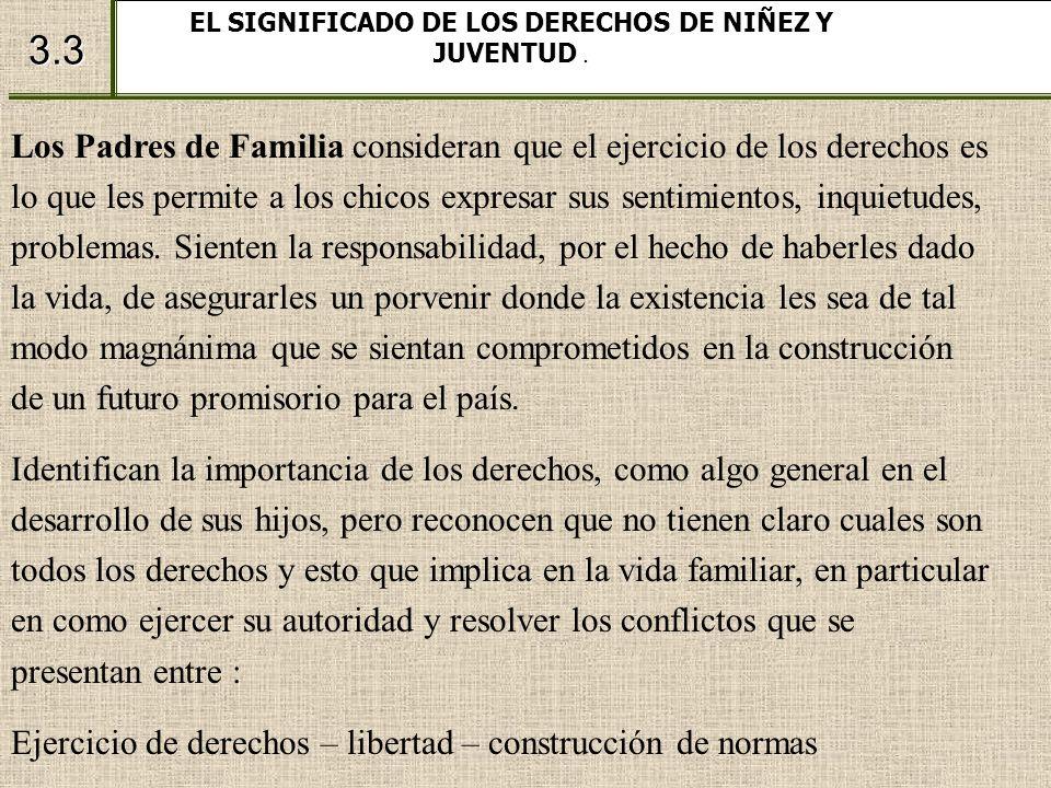 3.3 EL SIGNIFICADO DE LOS DERECHOS DE NIÑEZ Y JUVENTUD. Los Padres de Familia consideran que el ejercicio de los derechos es lo que les permite a los