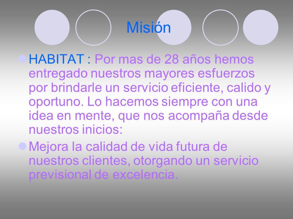 Misión HABITAT : Por mas de 28 años hemos entregado nuestros mayores esfuerzos por brindarle un servicio eficiente, calido y oportuno.