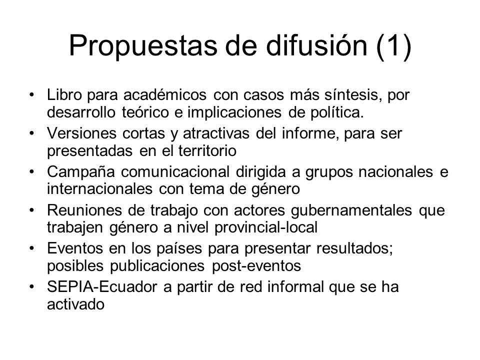 Propuestas de difusión (1) Libro para académicos con casos más síntesis, por desarrollo teórico e implicaciones de política.