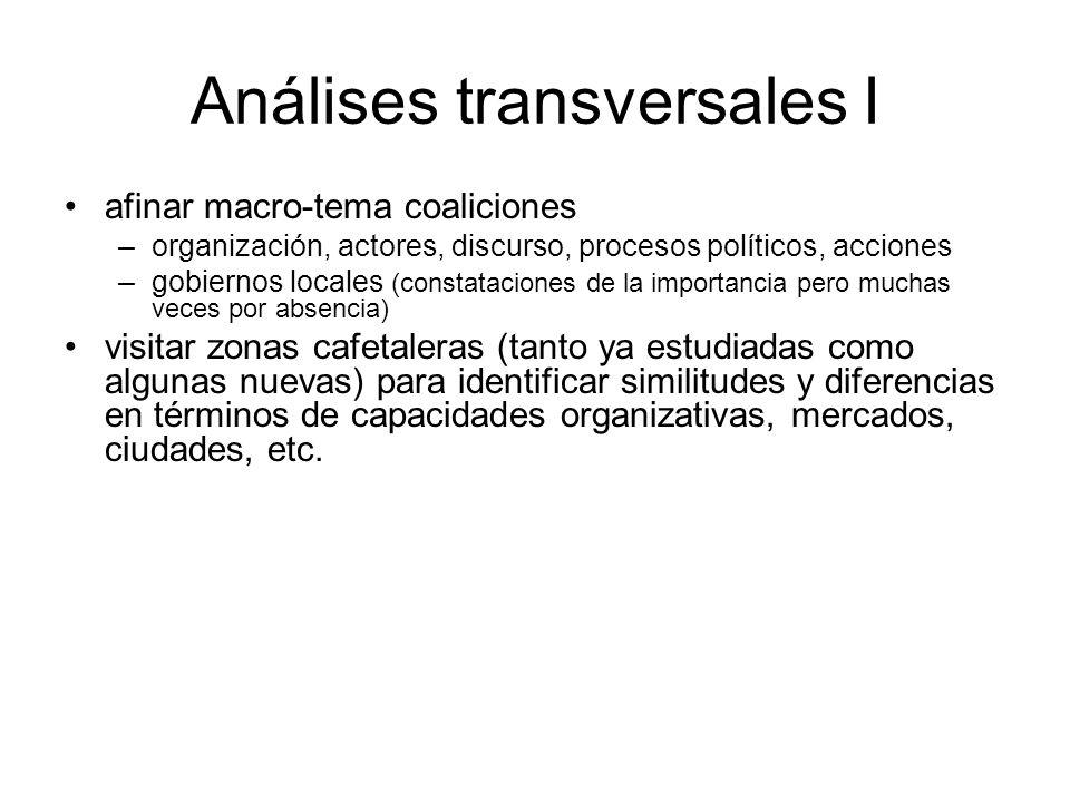 Análises transversales I afinar macro-tema coaliciones –organización, actores, discurso, procesos políticos, acciones –gobiernos locales (constatacion