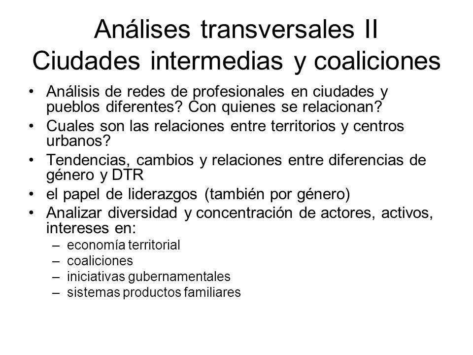 Análises transversales II Ciudades intermedias y coaliciones Análisis de redes de profesionales en ciudades y pueblos diferentes? Con quienes se relac