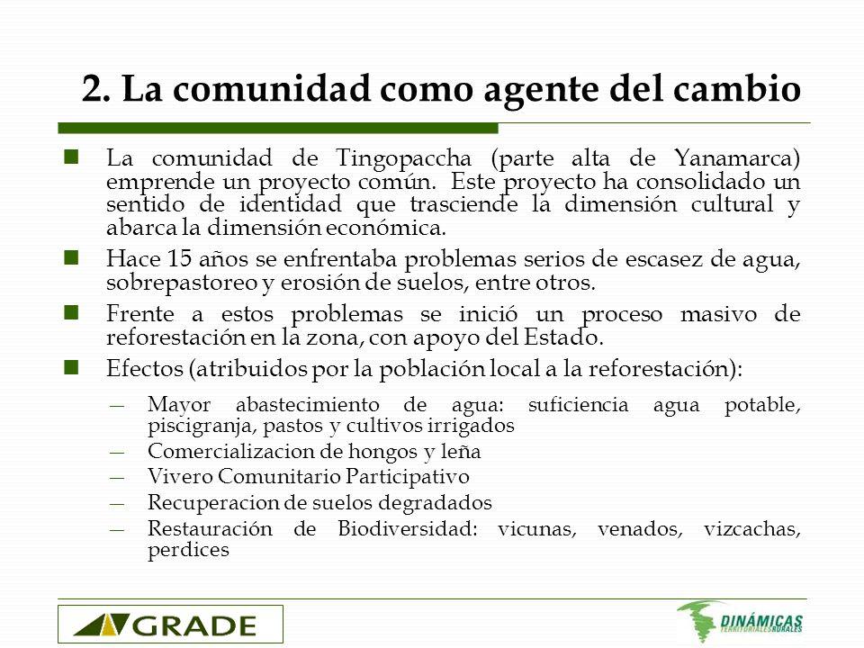 2. La comunidad como agente del cambio La comunidad de Tingopaccha (parte alta de Yanamarca) emprende un proyecto común. Este proyecto ha consolidado