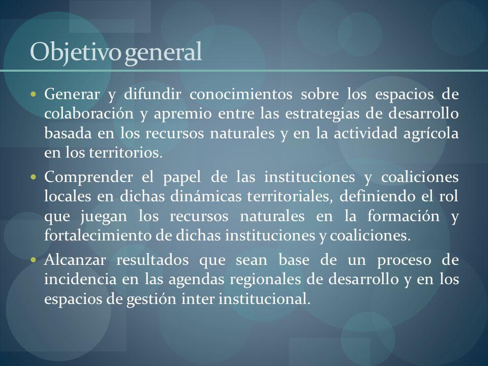 Objetivo general Generar y difundir conocimientos sobre los espacios de colaboración y apremio entre las estrategias de desarrollo basada en los recur