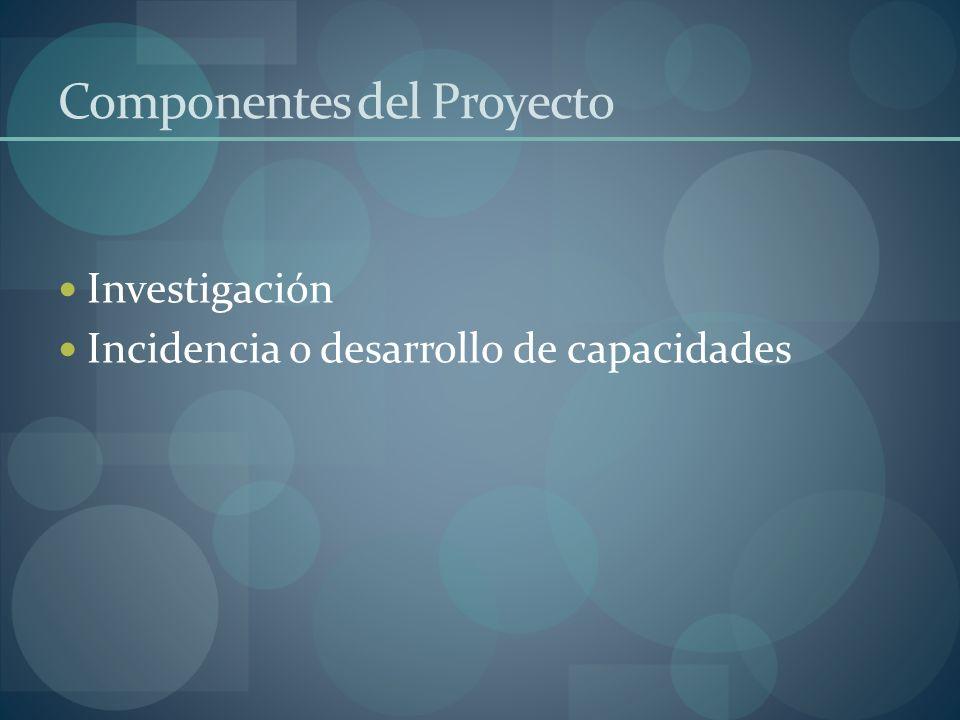 Componentes del Proyecto Investigación Incidencia o desarrollo de capacidades