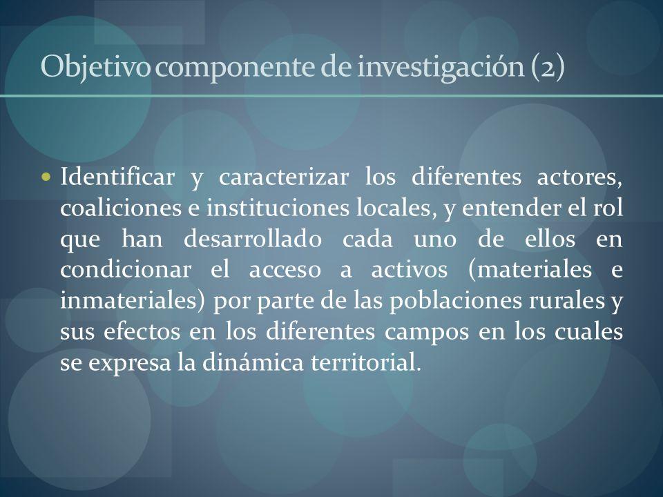 Objetivo componente de investigación (2) Identificar y caracterizar los diferentes actores, coaliciones e instituciones locales, y entender el rol que
