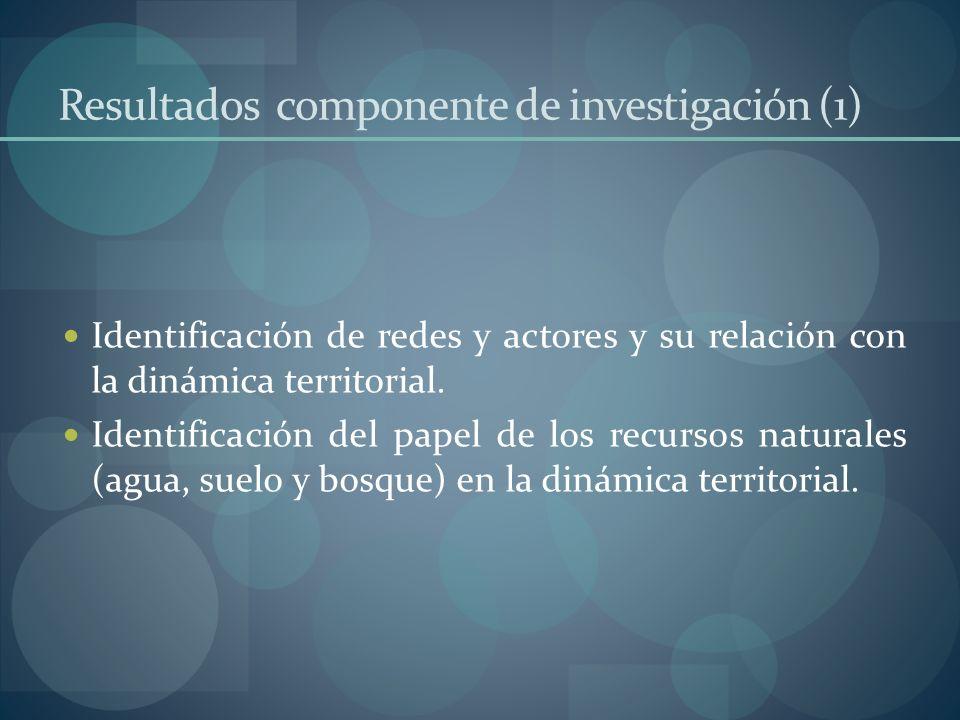 Resultados componente de investigación (1) Identificación de redes y actores y su relación con la dinámica territorial. Identificación del papel de lo