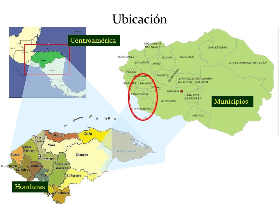 Características del Territorio Superficie: 1009.4km 2 Población: 26703 habitantes Población rural: 60% Tipología de municipios de acuerdo a IPG: Son municipios WWW (Campamento y Salamá) y WWL (Concordia) Ingreso: 536 a 2325 Lps.