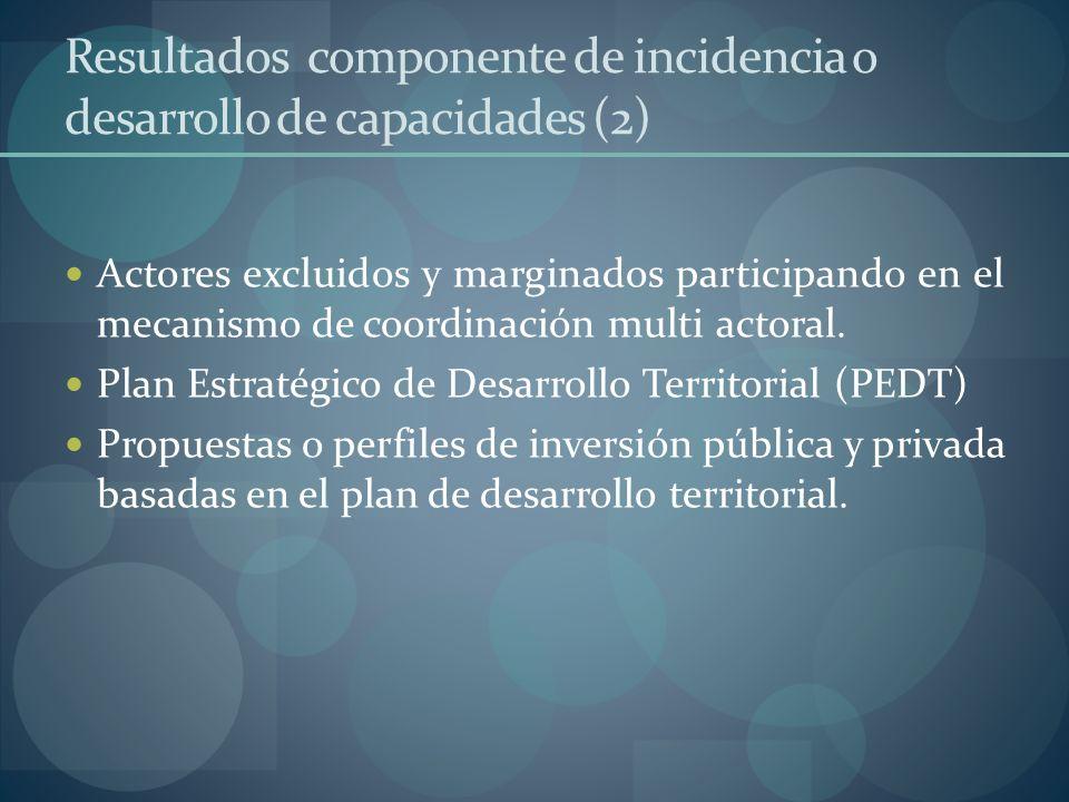 Resultados componente de incidencia o desarrollo de capacidades (2) Actores excluidos y marginados participando en el mecanismo de coordinación multi