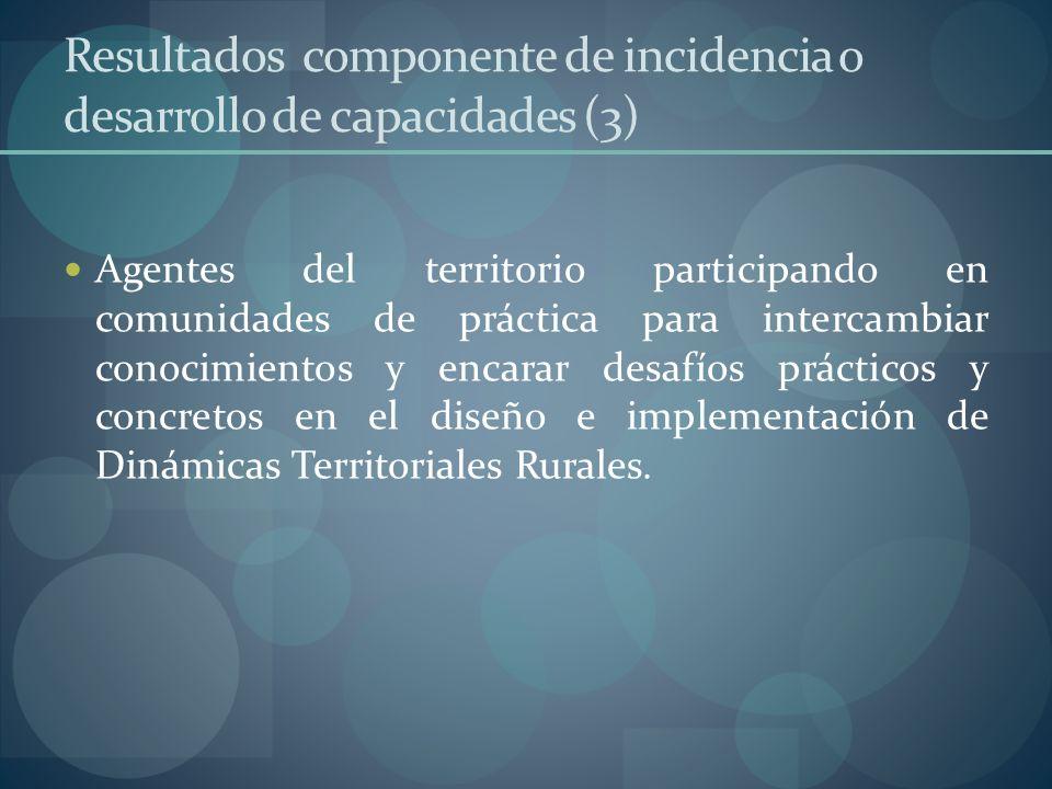 Resultados componente de incidencia o desarrollo de capacidades (3) Agentes del territorio participando en comunidades de práctica para intercambiar c