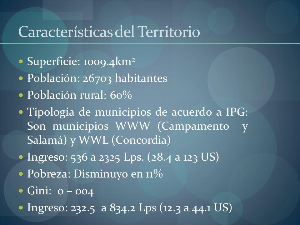 Características del Territorio Superficie: 1009.4km 2 Población: 26703 habitantes Población rural: 60% Tipología de municipios de acuerdo a IPG: Son m
