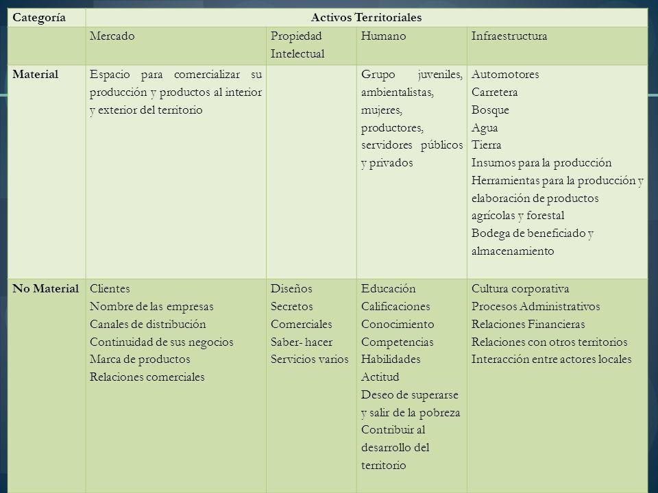 CategoríaActivos Territoriales Mercado Propiedad Intelectual HumanoInfraestructura Material Espacio para comercializar su producción y productos al in