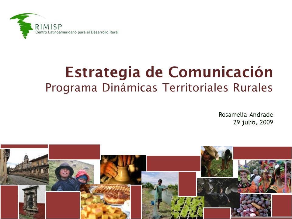 Estrategia de Comunicación Programa Dinámicas Territoriales Rurales Rosamelia Andrade 29 julio, 2009