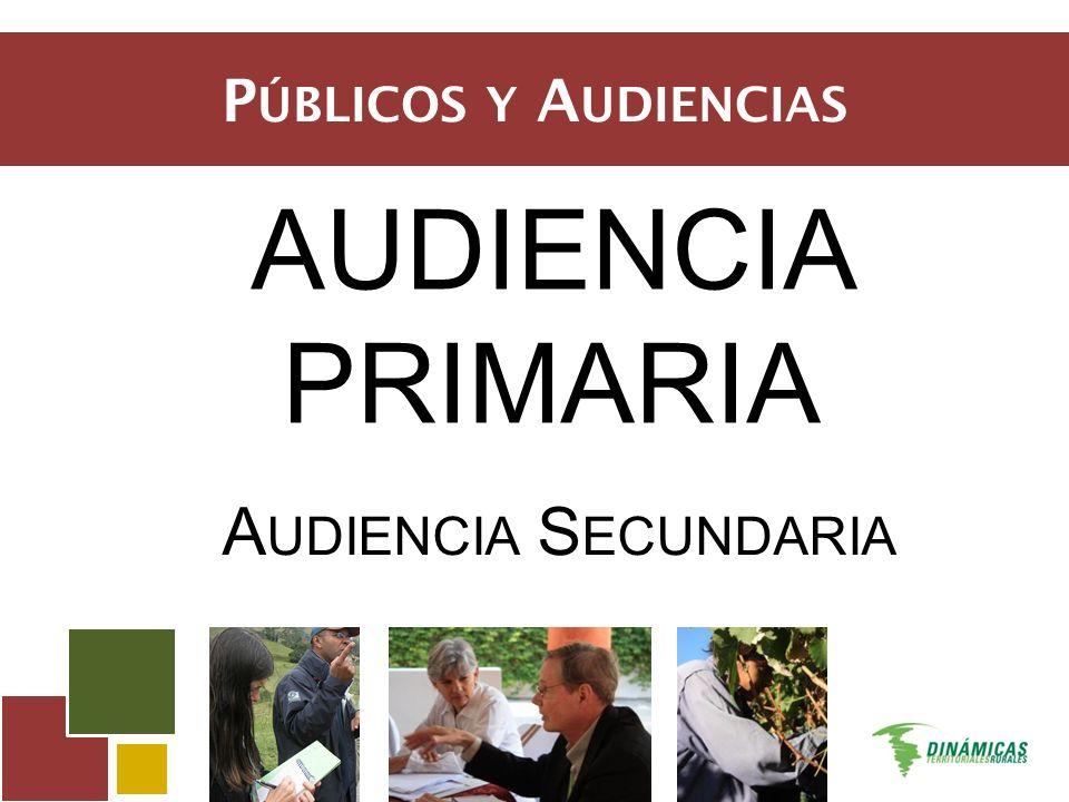 P ÚBLICOS Y A UDIENCIAS AUDIENCIA PRIMARIA A UDIENCIA S ECUNDARIA