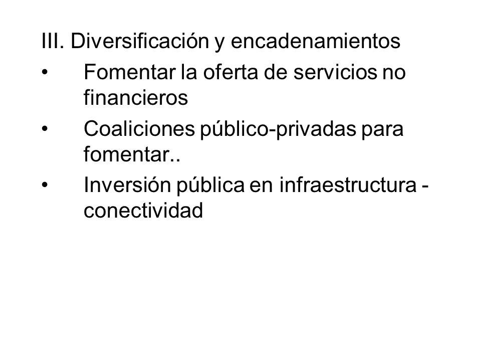 III. Diversificación y encadenamientos Fomentar la oferta de servicios no financieros Coaliciones público-privadas para fomentar.. Inversión pública e