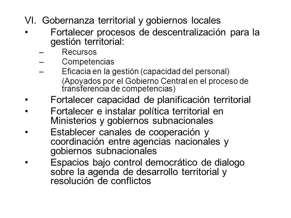 VI. Gobernanza territorial y gobiernos locales Fortalecer procesos de descentralización para la gestión territorial: –Recursos –Competencias –Eficacia