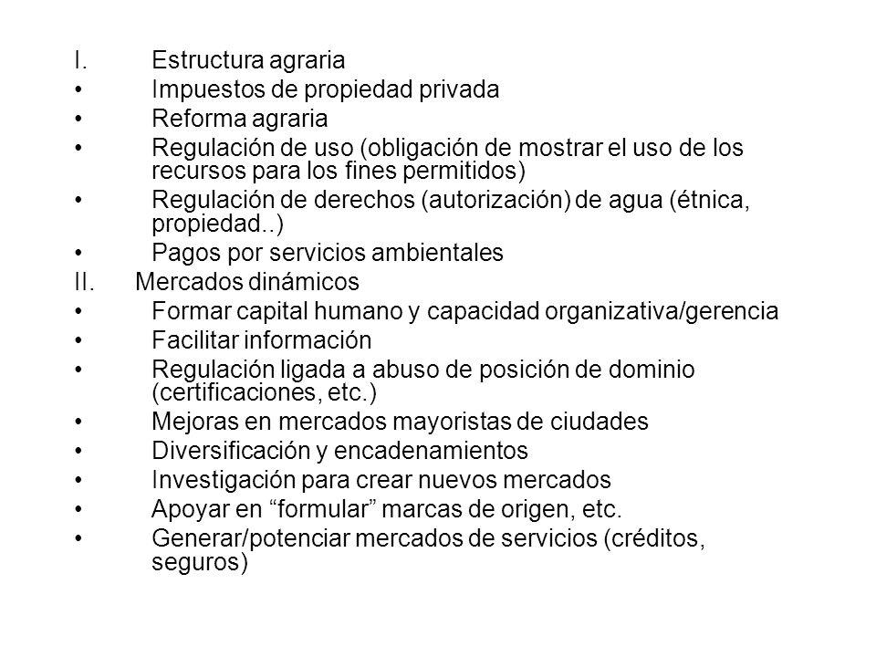 I.Estructura agraria Impuestos de propiedad privada Reforma agraria Regulación de uso (obligación de mostrar el uso de los recursos para los fines permitidos) Regulación de derechos (autorización) de agua (étnica, propiedad..) Pagos por servicios ambientales II.