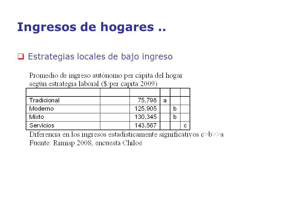 Ingresos de hogares.. Estrategias locales de bajo ingreso