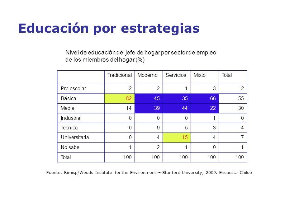 Educación por estrategias Nivel de educaci ó n del jefe de hogar por sector de empleo de los miembros del hogar (%) TradicionalModernoServiciosMixtoTo