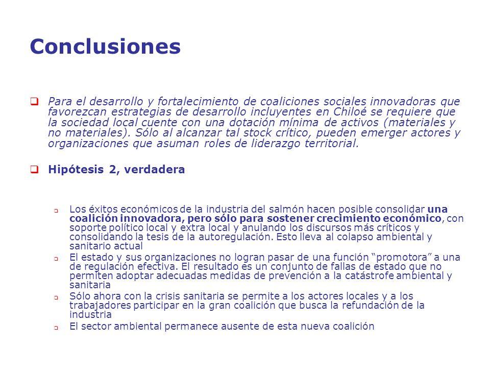 Conclusiones Para el desarrollo y fortalecimiento de coaliciones sociales innovadoras que favorezcan estrategias de desarrollo incluyentes en Chiloé s