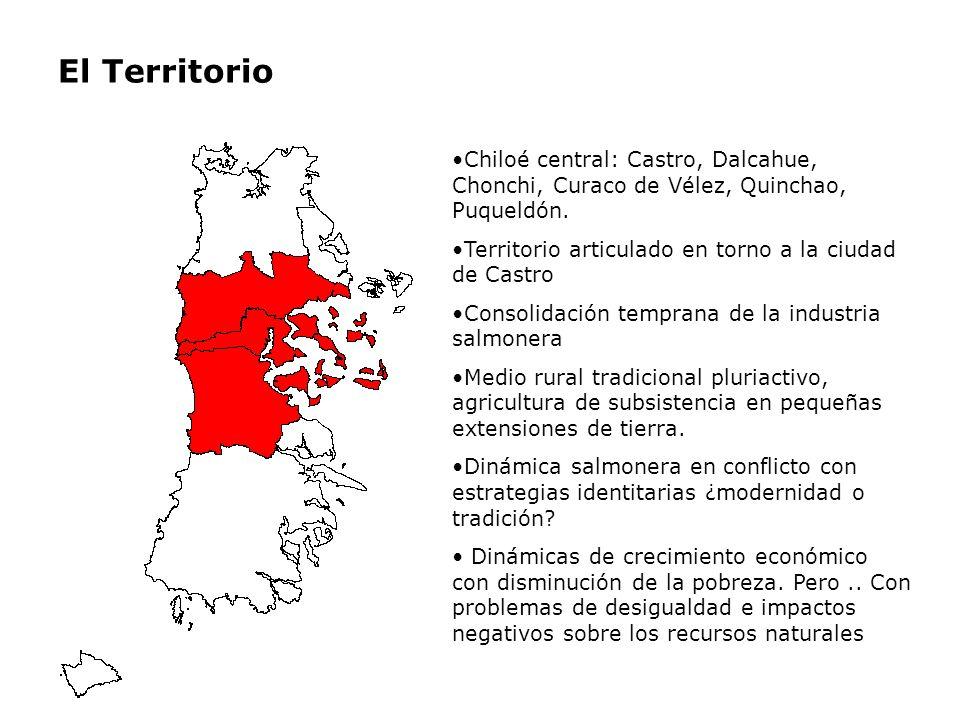 Hipótesis de trabajo La industria salmonera ha generado una dinámica de crecimiento económico fuertemente positivo pero desigual en lo económico debido a que en Chiloé los actores sociales locales no han tenido capacidad de movilizar recursos (materiales y no materiales) para valorizar sus propias estrategias de vida.
