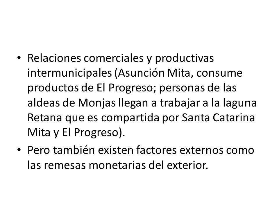 Relaciones comerciales y productivas intermunicipales (Asunción Mita, consume productos de El Progreso; personas de las aldeas de Monjas llegan a trab