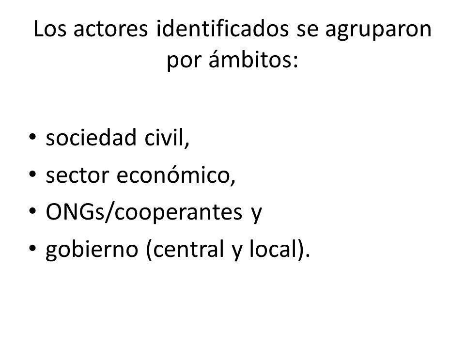 Los actores identificados se agruparon por ámbitos: sociedad civil, sector económico, ONGs/cooperantes y gobierno (central y local).