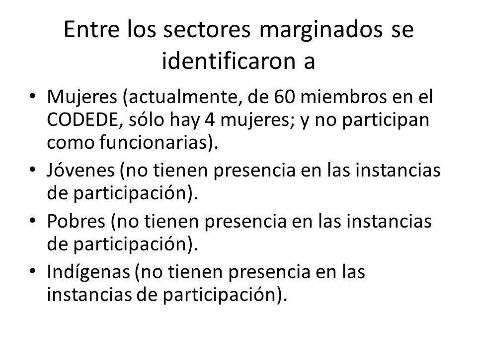 Entre los sectores marginados se identificaron a Mujeres (actualmente, de 60 miembros en el CODEDE, sólo hay 4 mujeres; y no participan como funcionar
