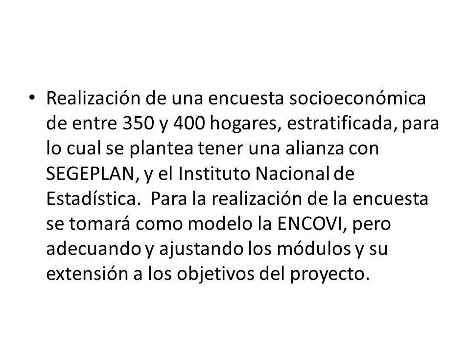 Realización de una encuesta socioeconómica de entre 350 y 400 hogares, estratificada, para lo cual se plantea tener una alianza con SEGEPLAN, y el Ins