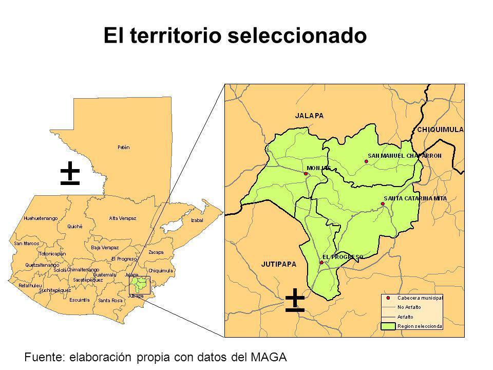 El territorio seleccionado Fuente: elaboración propia con datos del MAGA