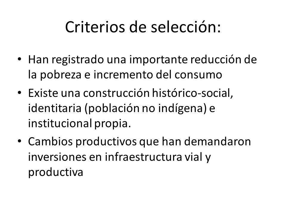 Criterios de selección: Han registrado una importante reducción de la pobreza e incremento del consumo Existe una construcción histórico-social, ident