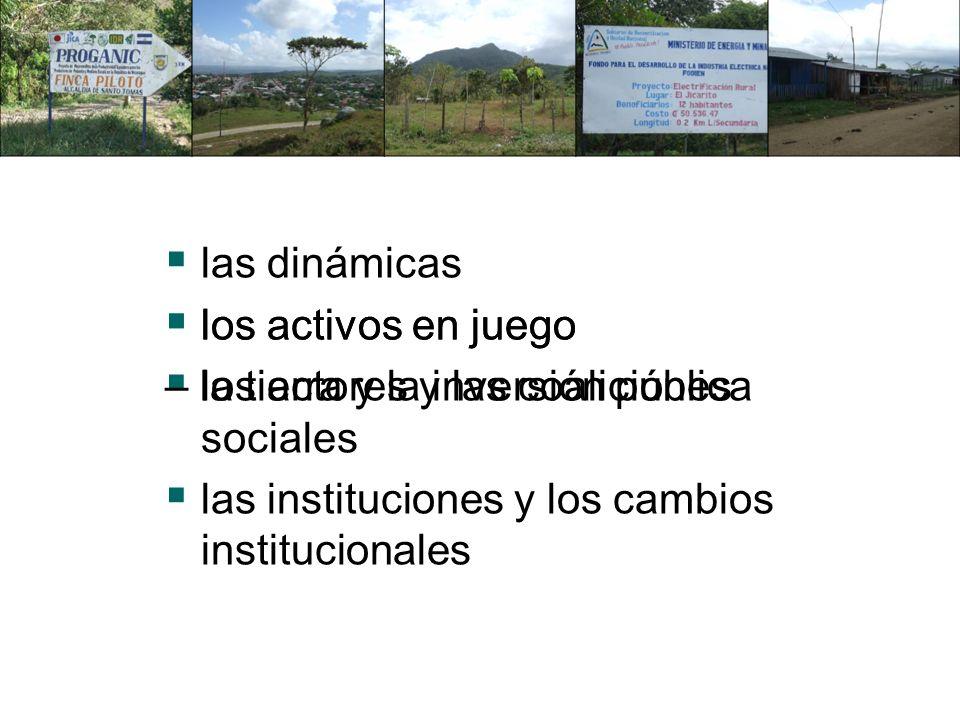 las dinámicas los activos en juego los actores y las coaliciones sociales las instituciones y los cambios institucionales los activos en juego – la tierra y la inversión pública