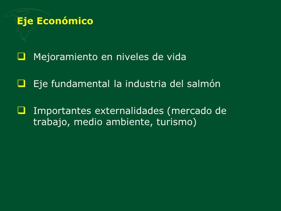 Eje Económico Mejoramiento en niveles de vida Eje fundamental la industria del salmón Importantes externalidades (mercado de trabajo, medio ambiente,