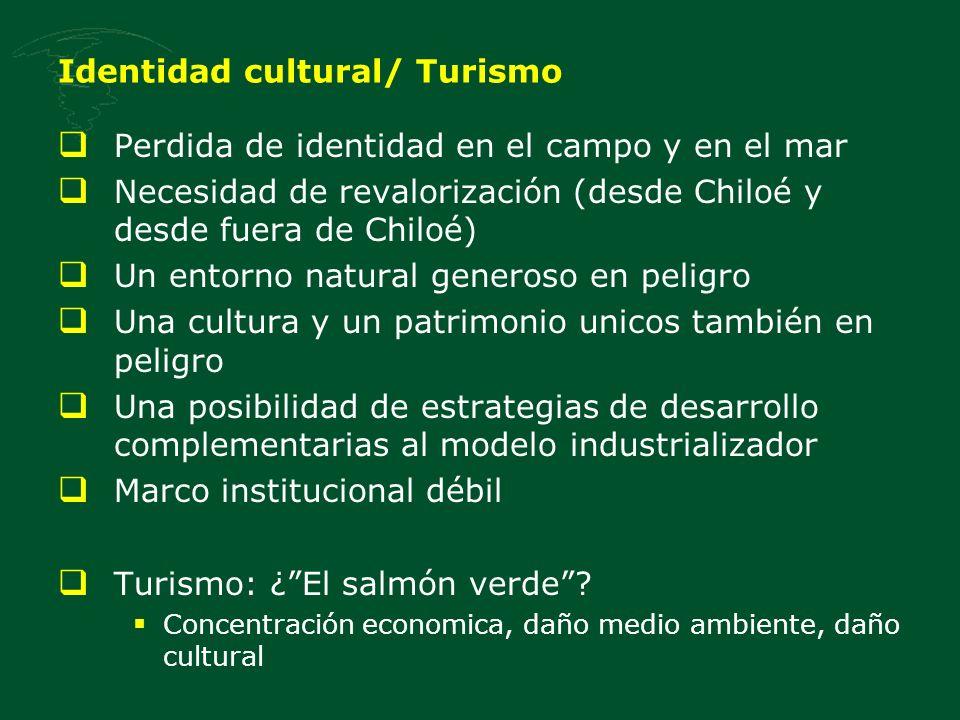 Identidad cultural/ Turismo Perdida de identidad en el campo y en el mar Necesidad de revalorización (desde Chiloé y desde fuera de Chiloé) Un entorno