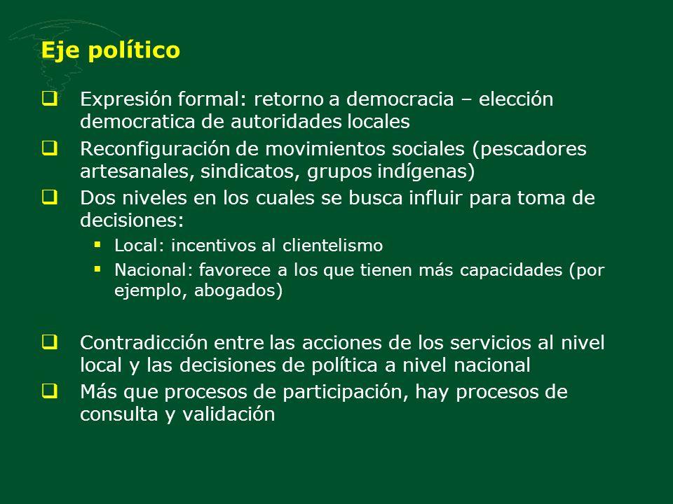 Eje político Expresión formal: retorno a democracia – elección democratica de autoridades locales Reconfiguración de movimientos sociales (pescadores