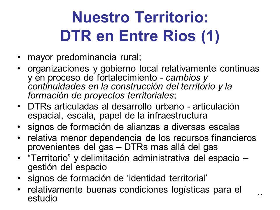 11 Nuestro Territorio: DTR en Entre Rios (1) mayor predominancia rural; organizaciones y gobierno local relativamente continuas y en proceso de fortal