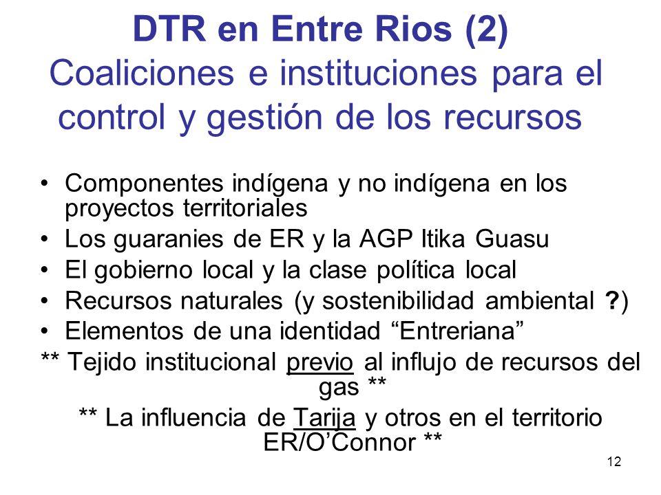 12 DTR en Entre Rios (2) Coaliciones e instituciones para el control y gestión de los recursos Componentes indígena y no indígena en los proyectos ter