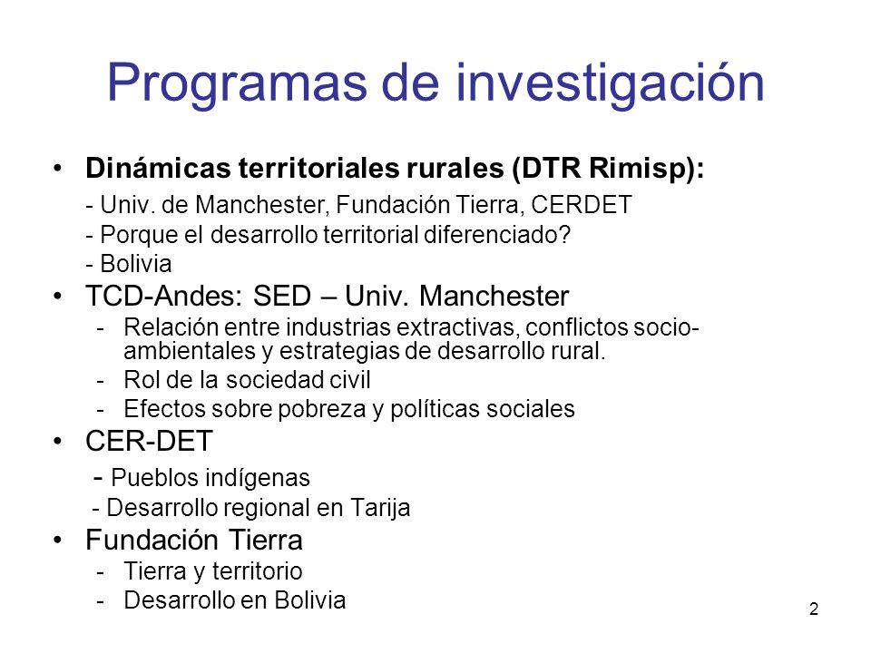 2 Programas de investigación Dinámicas territoriales rurales (DTR Rimisp): - Univ. de Manchester, Fundación Tierra, CERDET - Porque el desarrollo terr