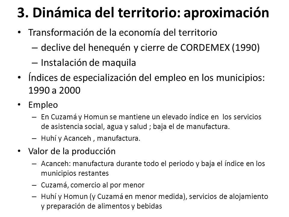 3. Dinámica del territorio: aproximación Transformación de la economía del territorio – declive del henequén y cierre de CORDEMEX (1990) – Instalación