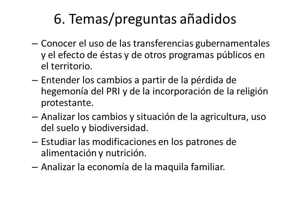 6. Temas/preguntas añadidos – Conocer el uso de las transferencias gubernamentales y el efecto de éstas y de otros programas públicos en el territorio