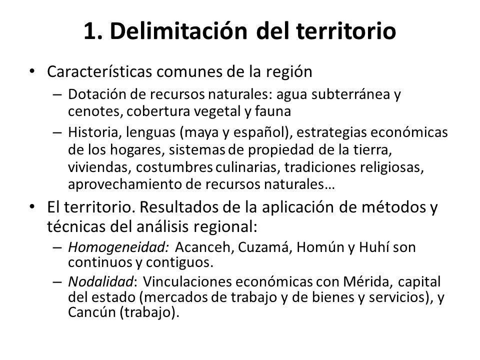 1. Delimitación del territorio Características comunes de la región – Dotación de recursos naturales: agua subterránea y cenotes, cobertura vegetal y
