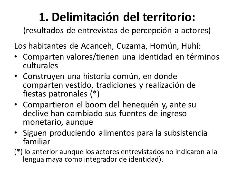 1. Delimitación del territorio: (resultados de entrevistas de percepción a actores) Los habitantes de Acanceh, Cuzama, Homún, Huhí: Comparten valores/