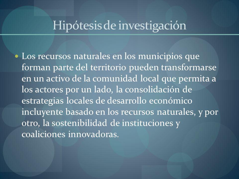 Hipótesis de investigación Los recursos naturales en los municipios que forman parte del territorio pueden transformarse en un activo de la comunidad