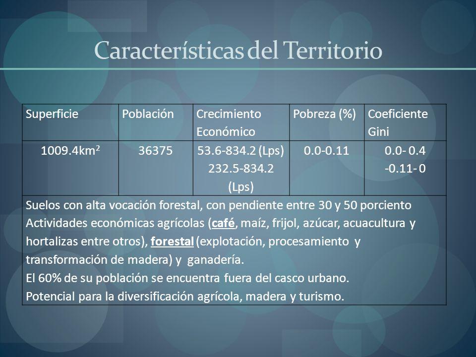 Características del Territorio SuperficiePoblación Crecimiento Económico Pobreza (%) Coeficiente Gini 1009.4km 2 36375 53.6-834.2 (Lps) 232.5-834.2 (L