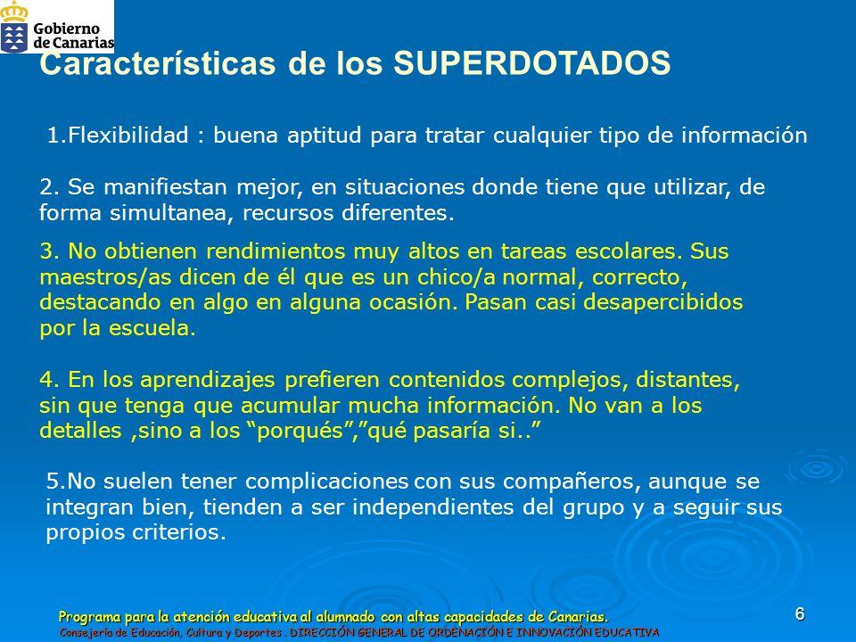 Programa para la atención educativa al alumnado con altas capacidades de Canarias.