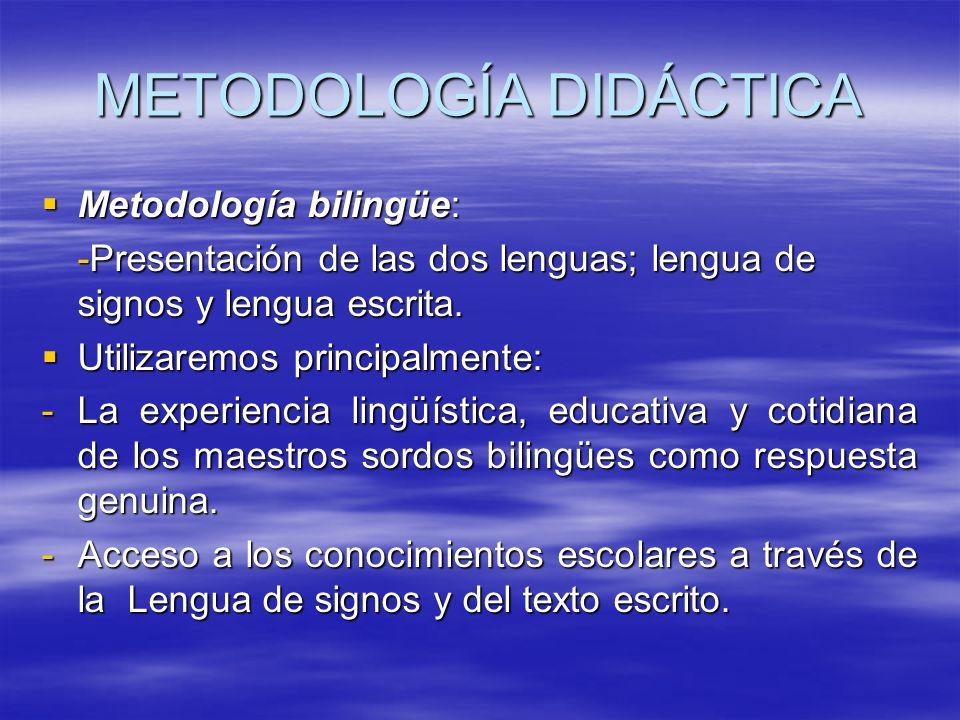 METODOLOGÍA DIDÁCTICA Metodología bilingüe: Metodología bilingüe: -Presentación de las dos lenguas; lengua de signos y lengua escrita. Utilizaremos pr