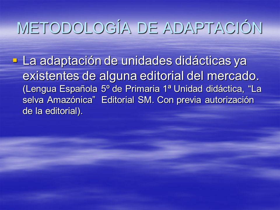 METODOLOGÍA DE ADAPTACIÓN La adaptación de unidades didácticas ya existentes de alguna editorial del mercado. (Lengua Española 5º de Primaria 1ª Unida