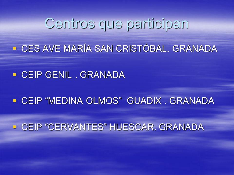 Centros que participan CES AVE MARÍA SAN CRISTÓBAL. GRANADA CES AVE MARÍA SAN CRISTÓBAL. GRANADA CEIP GENIL. GRANADA CEIP GENIL. GRANADA CEIP MEDINA O