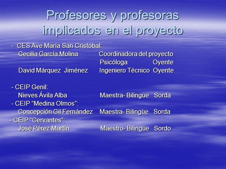 Profesores y profesoras implicados en el proyecto - CES Ave María San Cristóbal: - CES Ave María San Cristóbal: Cecilia García Molina Coordinadora del